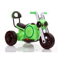儿童电动车摩托车男女小孩三轮车1-2-4宝宝太空狗玩具车可坐摩托 绿色 电动摩托车+音乐+彩灯