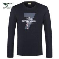 七匹狼长袖T恤秋季新品中青年男士时尚商务休闲圆领印花长袖T恤