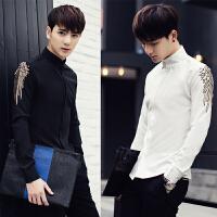 新款18秋季男士潮流韩版修身绣花长袖衬衫青年免烫休闲衬衣服