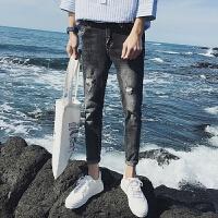 2018潮流加小码男裤26小号春夏破洞九分牛仔裤男27码修身韩版学生
