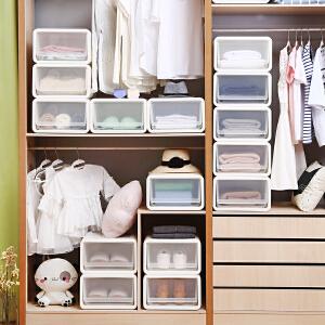 门扉 收纳盒 抽屉式收纳箱塑料大号内衣物储物箱衣柜收纳盒加厚透明衣服整理箱