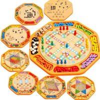 儿童玩具桌游多功能十二合一木质制跳棋飞行棋五子棋亲子