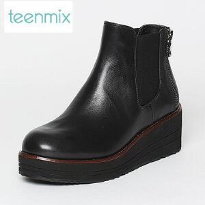 Teenmix/天美意专柜同款牛皮女休闲靴6Q540DD6