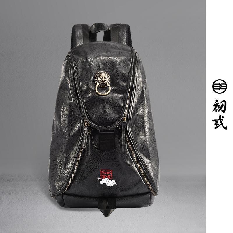 【支持礼品卡支付】初弎中国风潮牌狮子头双肩包 男女休闲背包 潮流电脑书包41231