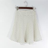 O07063日单精品女装新款隐形拉链高腰显瘦好搭配格子中裙半身裙