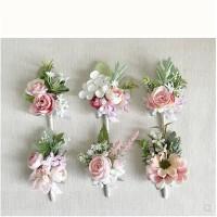 胸花手腕花 韩式森系襟花伴娘手腕花结婚拍照 粉白礼品