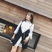 大码女装连衣裙韩版胖mm2018新款春装时尚藏肉显瘦衬衫裙&吊带裙