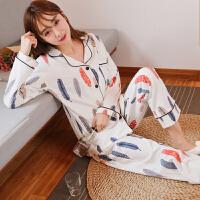 睡衣女秋季纯棉长袖韩版甜美清新休闲宽松日式新款家居服女士套装 白色羽毛
