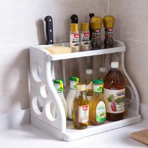 门扉 厨房置物架 双层厨房置物架调味料收纳架落地塑料刀架调料架调味品架子