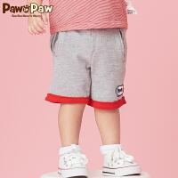【3件3折 到手价:89】Pawinpaw卡通小熊童装夏款男宝宝休闲五分裤婴幼儿撞色短裤
