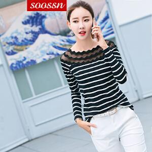 SOOSSN 2018秋装新款韩版修身显瘦长袖t恤网纱拼接打底衫女士长袖6079