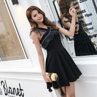 夏季新款女装修身性感小黑裙V领无袖背心连衣裙收腰a字裙