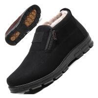 冬季男士棉鞋布鞋男高帮加绒保暖中老年父亲老人爸爸鞋