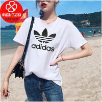 Adidas/阿迪达斯三叶草短袖女新款运动服休闲半袖上衣舒适透气圆领印花T恤GN2899