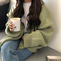 秋冬韩版学院风重工宽松口袋拉链厚针织衫长袖毛衣开衫上衣外套女 均码