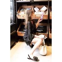 2018夏新款女韩版显瘦修身雪纺高腰波点星星V领连体裤短裤子 黑色