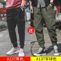 男士休闲裤直筒工装裤男潮牌宽松日系束脚裤子男韩版潮流 +A137绿色