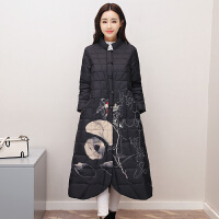 中国风棉衣女中长款冬季羽绒复古盘扣印花民族风棉袄外套