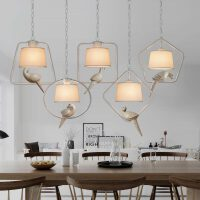 布罩美式吧台餐厅吊灯简约几何创意小鸟吊灯
