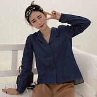 春夏风明线设计纯色百搭单排扣西装领衬衣长袖衬衫上衣女
