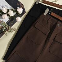 优雅气质 冬季新款女装韩版百搭纯色双口袋包臀毛呢半身裙LY6821