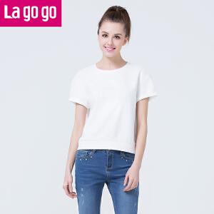 Lagogo拉谷谷夏季新款创意印花圆领白字母短款t恤女