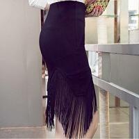 春夏秋冬半身裙短裙高腰包裙弹力一步裙包臀裙蕾丝流苏裙女 黑色