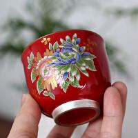 纯银茶杯景德镇青花茶具 鎏银品茗杯主人杯陶瓷