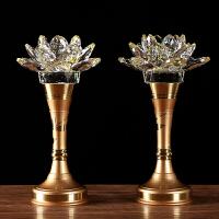 供佛用品纯铜供具套装供水杯香炉果盘佛前花瓶led水晶莲花灯摆件