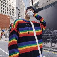 韩国复古撞色圆领针织衫彩虹条纹毛衣 潮人男女情侣装ins宽松上衣