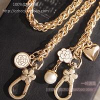 DIY原创 山茶花珍珠8MM灯笼链金属包带链配花扣金属包带链条