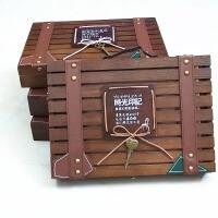 大号复古创意同学录小学生女男初中生高中生木质盒装木盒带锁