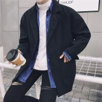 冬季日系毛呢学生外套男士短款韩版潮流风衣青年宽松呢子落肩大衣