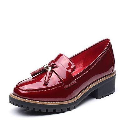 Teenmix/天美意2017秋专柜同款简约率性英伦风乐福鞋女单鞋AP141CQ7