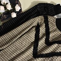 冬季新款女装韩版纯色金丝绒拼接高领百褶裙摆针织连衣裙LY935