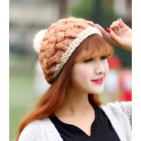 韩版秋冬时尚保暖女士贝雷帽子可爱兔毛球毛线针织帽
