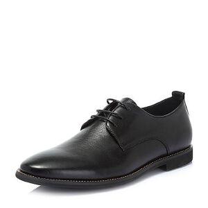 BASTO/百思图2018夏季专柜同款牛皮革系带商务方跟男皮鞋62182BM8