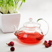 耐热玻璃花茶壶大容量创意玻璃高把压盖茶壶功夫茶具套装玻璃茶具650ML凉杯茶壶家用瓶耐热