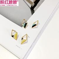 简约彩色撞色镂空三角几何菱形耳钉耳环女韩国时尚气质个性百搭