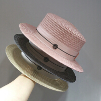 帽子女夏草编遮阳帽海边灰色草帽子礼帽标夏天女款沙滩帽 可调节