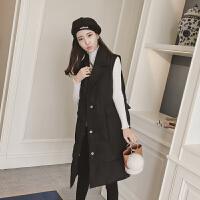 马甲女士冬季新中长夹棉无袖翻领棉衣外套女工装马夹潮流时尚 黑色