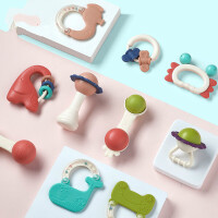 六个月宝宝玩具婴幼儿手摇铃玩具0-1岁新生儿宝宝益智牙胶0-3-6-12个月 趣味牙胶摇铃(箱装)^@^