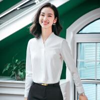 雪纺白色衬衫女长袖2018新款职业防走光打底衬衣OL工作服商务正装