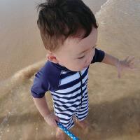 婴幼儿童泳衣男宝泳裤条纹男童宝宝泳装带帽