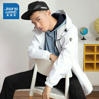 [618提前购专享价:155.9元]真维斯男装 2020春装新款 化纤特织布连帽印字外套