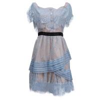 2018新款女装春装潮修身显瘦小礼服性感百搭一字肩抹胸蕾丝连衣裙 天蓝色