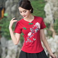 中国风女装盘扣上衣 夏装新款复古民族风修身短袖T恤女打底衫