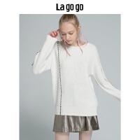 【5折价165】Lagogo/拉谷谷2018冬季新款纯色长袖圆领针织衫HCMM43XC26