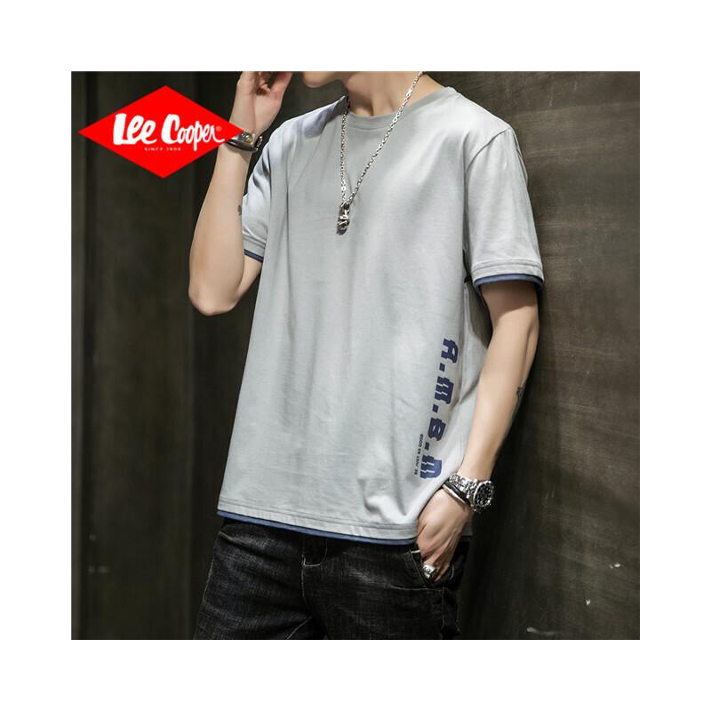Lee Cooper男士纯色短袖宽松圆领新款休闲青打底衫短袖t恤男