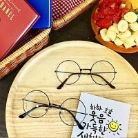 原宿休闲男女可爱细框圆形眼镜架平光复古百搭学院风文艺平光镜架